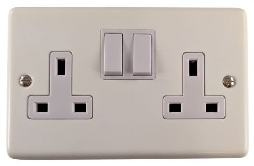 G&H CW10W Standard Plate Matt White 2 Gang Double 13A Switched Plug Socket